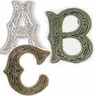 Alphabet Letter Concho in Choice of Silver Antique Silver and Antique Copper