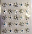 White  Silver Snowflakes Blue Gems Winter Christmas Jolees 3D Stickers