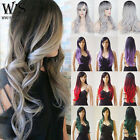 Wig With Bangs For Womens Black Grey Red Ombre Hair Wig Heat Resistant Synthetic