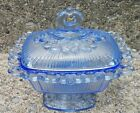 Vintage Indiana Glass Horizon Blue Lace Edge Lid Compote Candy Box Butter Dish