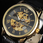 Top Quality New Men Skeleton Automatic Mechanical Leather Sport Watch Armbanduhr