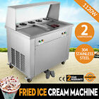 2 Pan 5 Buckets Fried Ice Cream Machine Hot Fry Fruit Milk Maker w/ Dust Cover