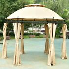 Patio Round Awning Canopy Cover Shelter Wedding Party W Side Sunshade Tent 10ft