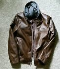 Mens Guess brown faux leather jacket with hood Medium Warm and comfortable