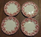 4 VINTAGE JOHNSON BROTHERS STRAWBERRY FAIR RED BREAD PLATES ALL CHIPPED