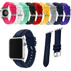 Stitching Durable Sports Silicone Rubber Watch Band Strap for Apple Watch 3 2 1