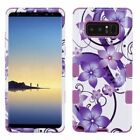 FOR SAMSUNG GALAXY NOTE 8 PHONE WHITE PURPLE FLOWER TUFF IMPACT SKIN CASE COVER