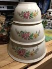 Vintage Homer Laughlin Kitchen Kraft Floral Pattern Set Of 3 Nesting Mixing Bowl