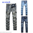 US SALE Vintage Mens Ripped Skinny Biker Jeans Destroyed Slim Fit Denim Pants