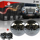 2Pcs 7 Inch Round Jeep Wrangler H13 H4 LED Headlights With Fog lamps Black Kit