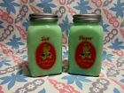 Jadeite Sunbeam Girl Arched Salt and Pepper Shakers in Excellent Condition