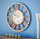 AMERICAN HOME 20 in Rustic Wood Iron Wall Clock Classic Round Shaped Frame New