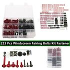 223 X Red Motorcycle Sportbike Windscreen Fairing Bolts Kit Fastener Clips Screw