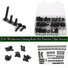223PC Black Motorcycle Sportbike Fairing Bolts Kit Fastener Clips Screws New