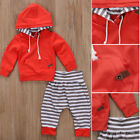 Newborn Infant Baby Boy Girls Clothes Hooded T shirt Tops+Pants Outfits US STOCK