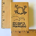 Remarkable Rubber Stamps Frog with School Saying RETIRED NEW