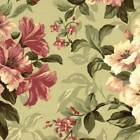 Mill Creek Floral CELERY GREEN Pink Cotton Home Decor Drapery Sewing Fabric BTY