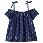Girls Jumping Beans Print Off the Shoulder Top Geo Navy