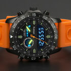 INFANTRY Herren Analog Digitaluhr Armbanduhr Uhr LED Stoppuhr Pilotenuhr Orange