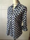 Dalia Collection Blue And White Patterned Chevron Tunic Blouse Light Sheer M