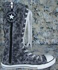 Girls Sz 5 Converse Athletic Shoes Tall Boots Lace Up Gray Leopard Canvas Calf H