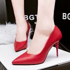 Red US 8 High Heels Pointed Toe Pumps Stilettos Solid OL Lady Party Women Shoes