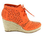 New Orange Fashion espadrilles Wedge cutout lace up close toe Womens booties