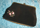 Vtg ITALIAN Hand Painted ROSE Black EVENING BAG+Cosmetic VINYL Lined PURSE EX