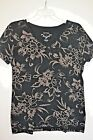 Sonoma Black  Tan Print V Neck Knit Shirt Pullover Top Short Sleeve Size M