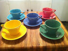 HLC 5 Harlequin Cups and Saucers in yellow, blue, green, turquoise and pink