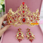 Vintage Gold Wedding Bridal Red Crystal Crown Headband Tiara Baroque Accessories