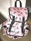 Candies Pink Black Fox Canvas Backpack Multi Pockets School Gym Overnight