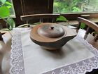 Antique Hand Carved Nippon Wood Bowl With Lid Made In Japan