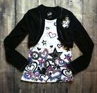 Girls Justice Long Sleeve Shirt Size 8 Hearts Stars Peace Signs Black White E4