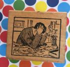 Vintage All Night Media Rubber Stamp Man With Head In Hands At Desk Retro