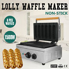 1500W Commercial 6pcs NonStick lolly Waffle Maker Electric Muffin Baking Baker