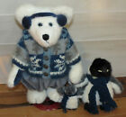 Boyds Archive Collection Limited White Bear Penguin Blue Gray Jointed Holiday