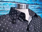 Jean Paul Mens Satin Polyester Black Button Down Casual Vintage Italian Shirt