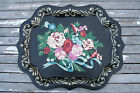 Vintage Hand Painted Floral Tole Tray Black Gold Flowers Wall Hanging Red Pink