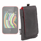 Black & Red Smartphone Pouch for Nokia Asha 230 w/ Convenient Belt-Loop