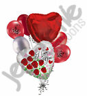 7 pc Love You Sparkling Roses Heart Valentines Day Balloon Bouquet Mine Hug Kiss