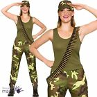 Ladies Army Girl Combat Khaki Military Soldier Hen Camo Fancy Dress Outfit + Hat