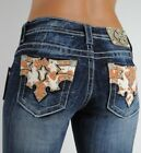 Miss Me Jeans Brown Cow Patch Texas Rodeo Crystals Vintage Wash Boot 27 Rare