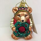 Fitz and Floyd Glass Ornament Christmas Lodge Bear Holding Wreath Hand Painted