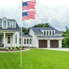 20ft Aluminum Sectional Flagpole Kit Outdoor Halyard Pole  1 US American Flag