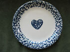 Folk Craft HEARTS by Tienshan Sponged Navy Blue Border Salad Dessert Plate (s)