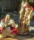 Vintage Nativity Paper Mache Mary Joseph Baby Jesus 2 Piece set