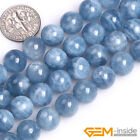 Natural Blue Aquamarine Gemstone Round Loose Spacer Beads For Jewelry Making 15