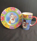 The Sweet Shoppe Christmas Sango 20 ounce Coffee Mug and Cookie Plate - Snowman