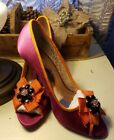 Poetic Licence Dazzling Hot Pink Orange Satin peep toe Heels SZ 85 Embellished